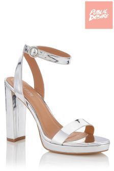 Public Desire Metallic Block Heel Stiletto