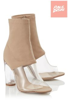 Public Desire Perspex Heel Ankle Boots
