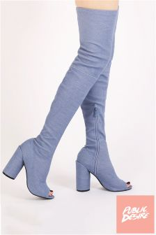 Public Desire Over The Knee Peep Toe Denim Boots