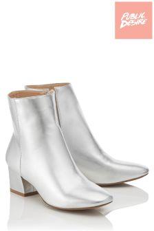 Public Desire Metallic Ankle Boots