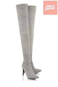 Public Desire Thigh High Faux Suede Boots