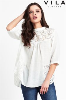 Vila High Neck Lace Insert Blouse