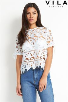 Vila Crochet Lace Top