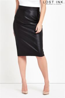 Lost Ink Curve Pencil Skirt In PU