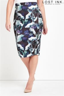 Lost Ink Curve Pencil Skirt In Tulip Print