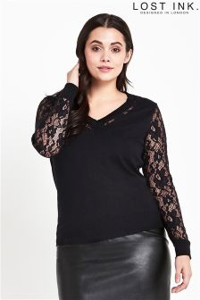 Lost Ink Curve Jumper With Lace Sleeves