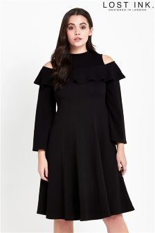 Lost Ink Curve Cold Shoulder Swing Dress