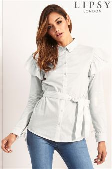 Lipsy Poplin Ruffle Shirt With Tie