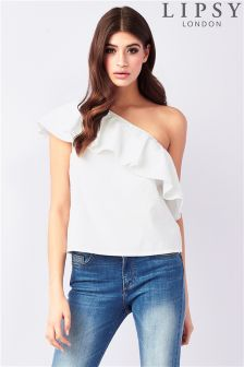 Lipsy One Shoulder Ruffle Poplin Top