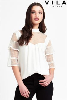 Vila High Neck Ruffle Sleeved Top