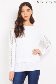 Society 8 2-In-1 Jumper With Lace Sleeve Detail