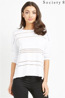 Society 8 White Sheer Stripe Jumper