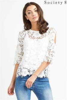 Society 8 Cold Shoulder Lace Top