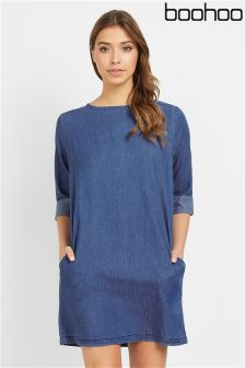 Boohoo Denim Shift Dress