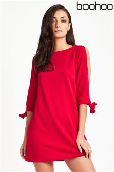 Boohoo Tie Sleeve Shift Dress