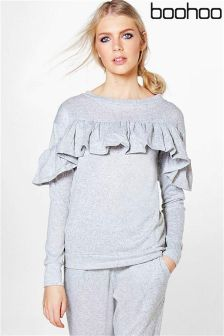Boohoo Ruffle Detail Knitted Lounge Top