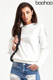 Boohoo Ruffle Sleeve Sweatshirt
