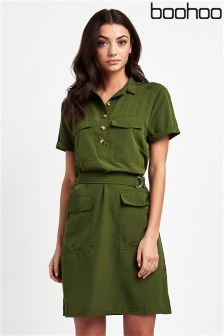 Boohoo Ring Belt Shirt Dress