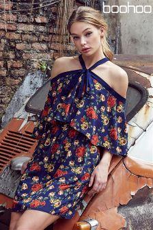 Boohoo Halter Neck Floral Print Skater Dress