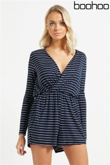 Boohoo Wrap Front Jersey Playsuit