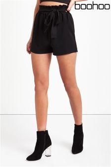 Boohoo Paperbag Waist Shorts