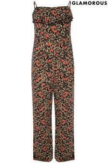 Glamorous Curve Printed Strappy Jumpsuit