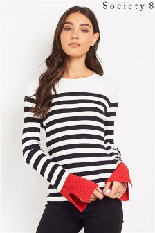 Society 8 Nautical Stripe Jumper With Contrast Cuffs