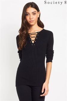 Society 8 Eyelet Lace Up Detail Jumper