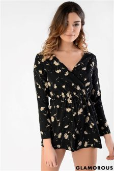 Glamorous Petite Printed Wrap Over Playsuit
