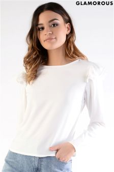 Glamorous Petite Frill Shoulder Detail Top