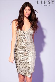 Lipsy Sequin V neck Cami Bodycon Dress