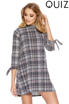 Quiz Check Turtle Neck Tie Sleeve Tunic Dress