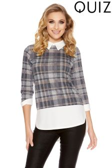 Quiz Knit Check Collared Top