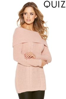 Quiz Cable Knit Bardot Jumper