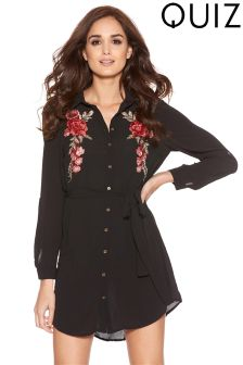 Quiz Embroidered Shirt Dress