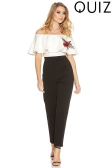 Quiz Bardot Frill Embroidered Jumpsuit