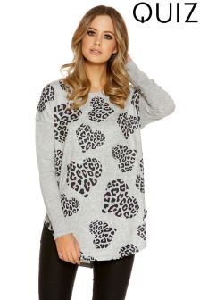 Quiz Leopard Print Heart Top