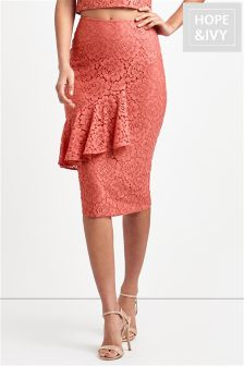 Hope And Ivy Ruffle Layer Lace Pencil Skirt
