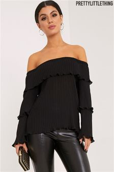 PrettyLittleThing Pleated Bardot Frill Sleeve Blouse