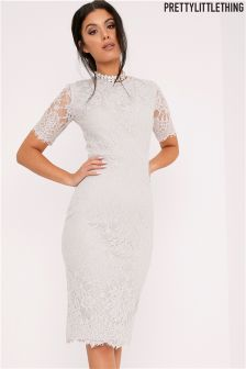 PrettyLittleThing Lace Tie Back Midi Dress
