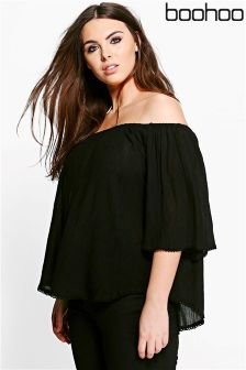 Boohoo Plus Crochet Hem Off The Shoulder Top