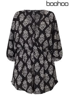 Boohoo Plus Wrap Front Batwing Playsuit