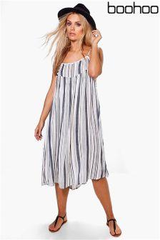 Boohoo Plus Stripe Pom Pom Swing Dress
