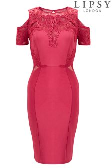 Lipsy Lace Appliqué Cold Shoulder Bodycon Dress