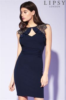 Lipsy Ruched Frill Detail Bodycon Dress