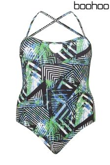 Boohoo Plus Lola Cross Strap Swimsuit