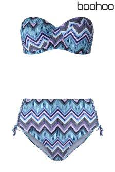 Boohoo Plus Kara Geo Print Bikini