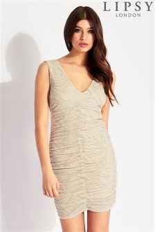 Lipsy Glitter Ruched Bodycon Dress