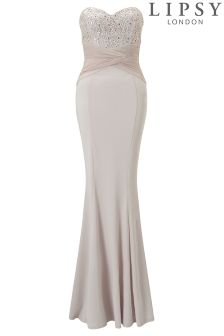 Lipsy Petite Sequin Top Bandeau Fishtail Maxi Dress