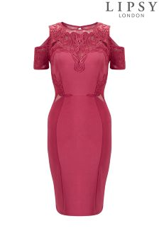 Lipsy Petite Lace Appliqué Cold Shoulder Bodycon Dress